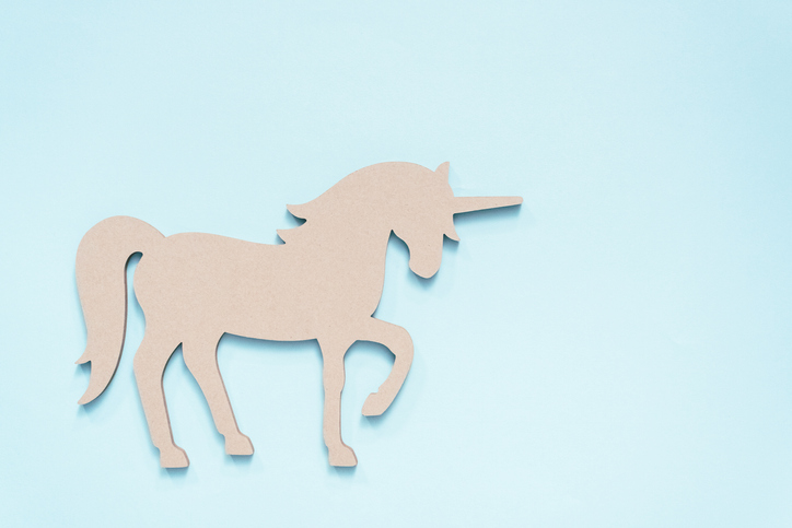 Unicorn on Blue Background
