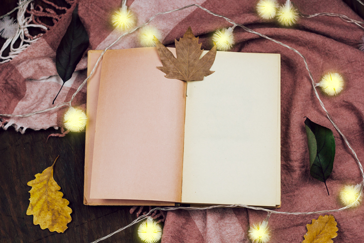 Notebook and Leaves