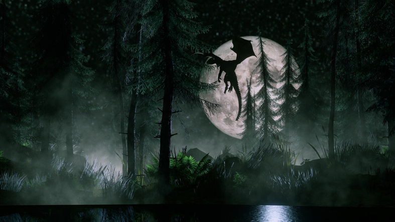 Dragon Flying by Moon