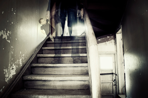 Haunted Figure on Stairs