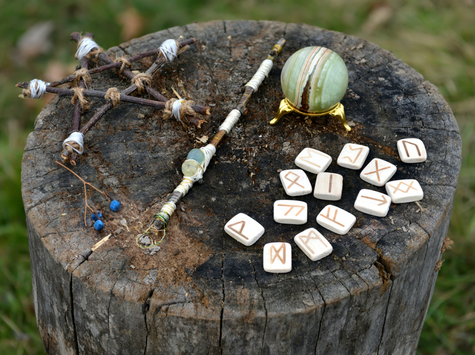 Witchcraft Tools on Tree Stump