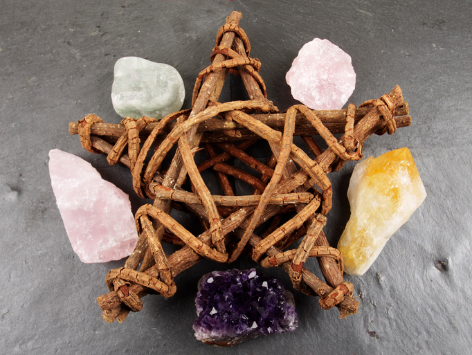 Wooden Pentagram and Crystals