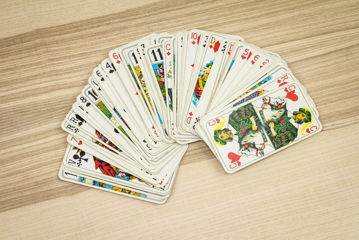Playing cards fanned out
