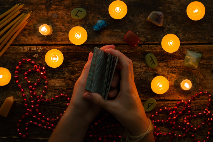 Reading Tarot Cards by Candlelight