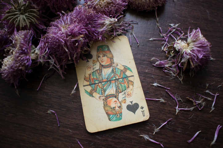 Old Playing Card with Flowers