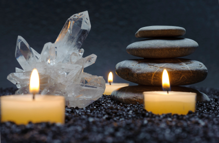 candles zen stones and crystals