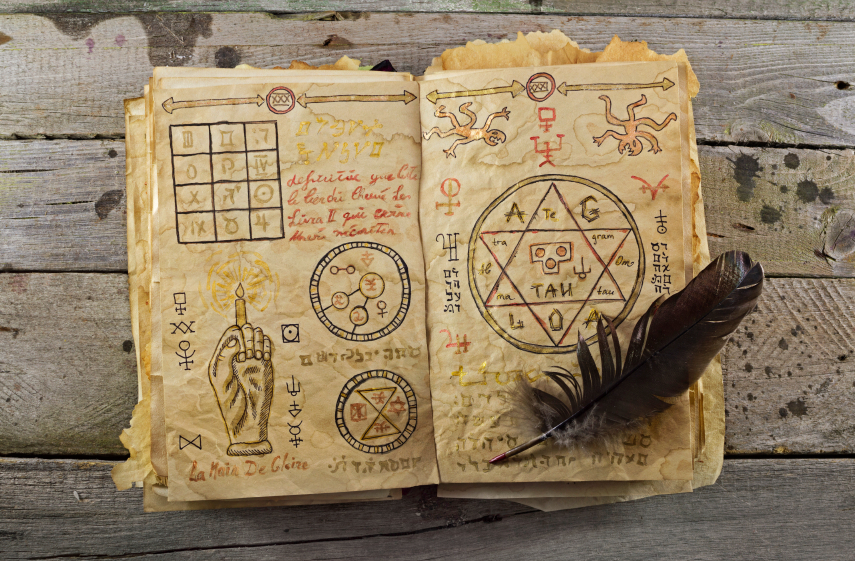 Magick book and feather