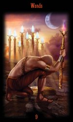Nine of Wands from Legacy of the Divine Tarot