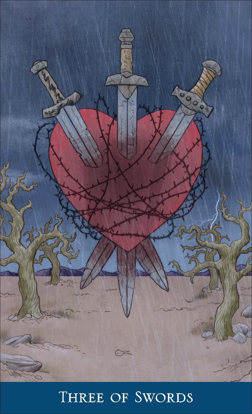 Three of Swords from Llewellyn's Classic Tarot