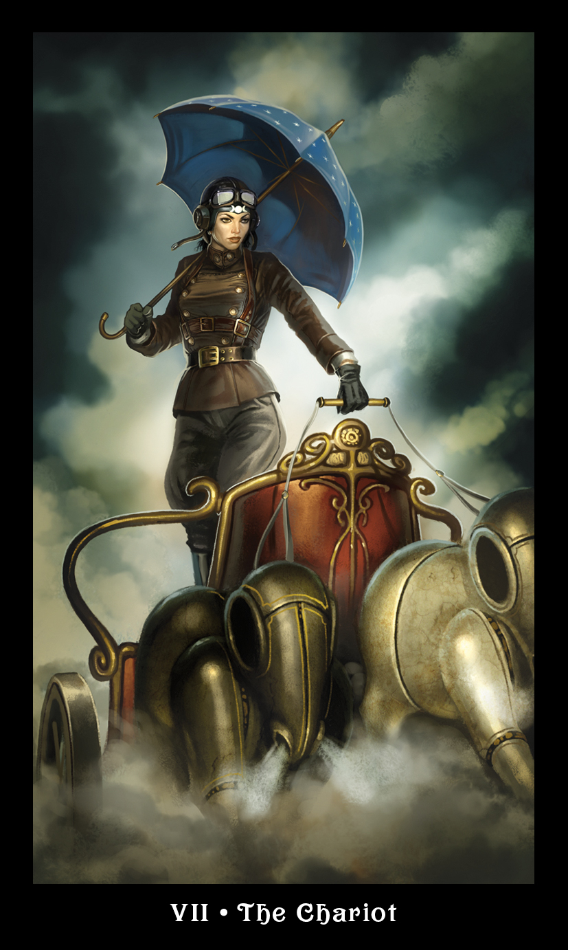 The Chariot from the Steampunk Tarot, by Barbara Moore & Aly Fell