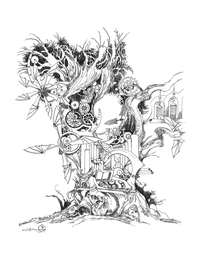 Interior of Shadowscapes Coloring Book