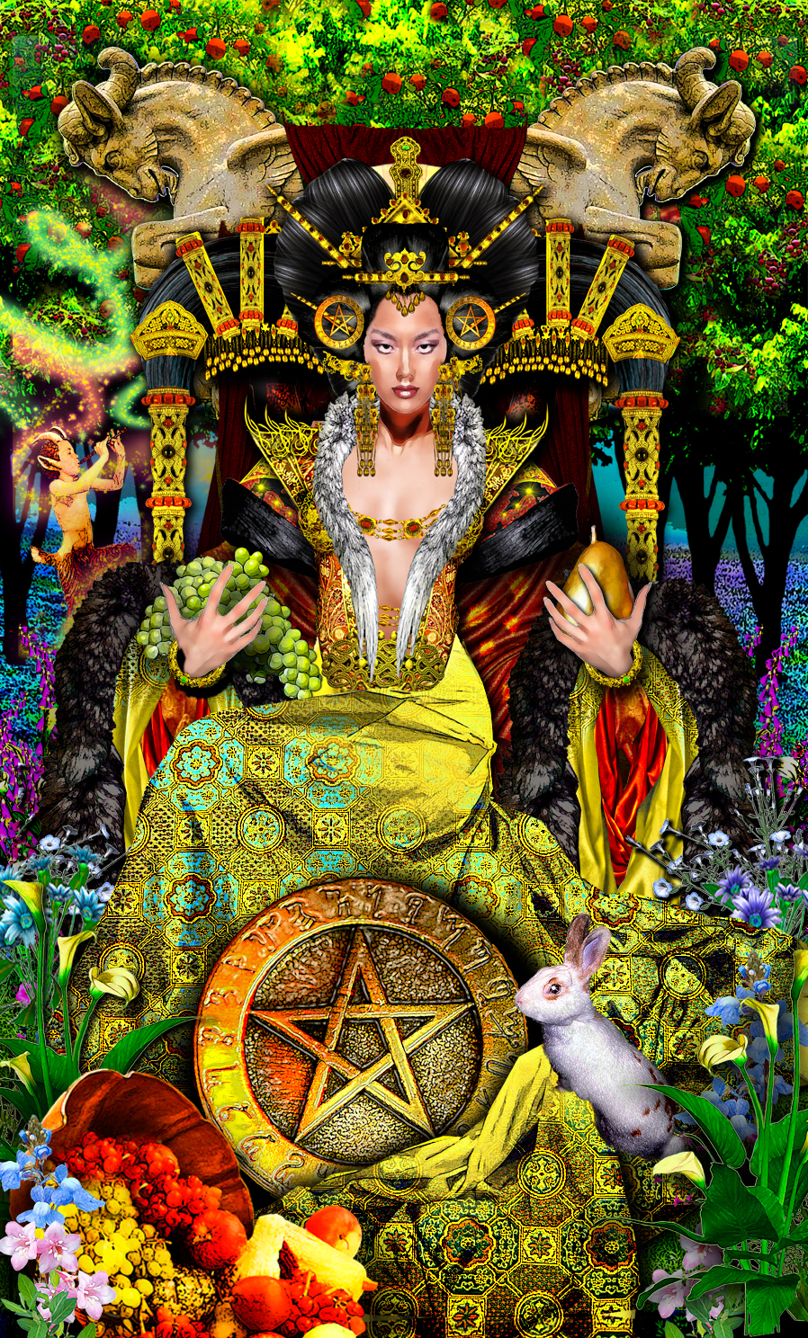 The Pentacles Suit Tarot Cards Meanings In Readings: Illuminati Queen Of Pentacles