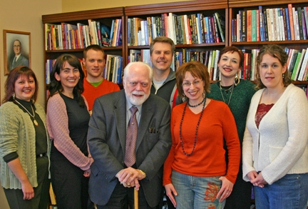 The Acquisitions Department, circa 2005.  Publisher Bill Krause is to the right of Carl, next is Barbara Moore, who still does tarot acquisitions, and that's me next to her, in the green.